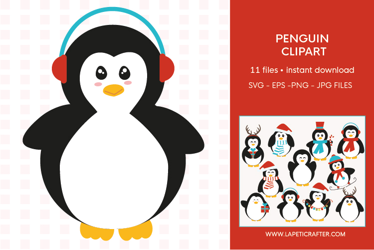 Christmas penguin clipart set, winter animals vector example image 5