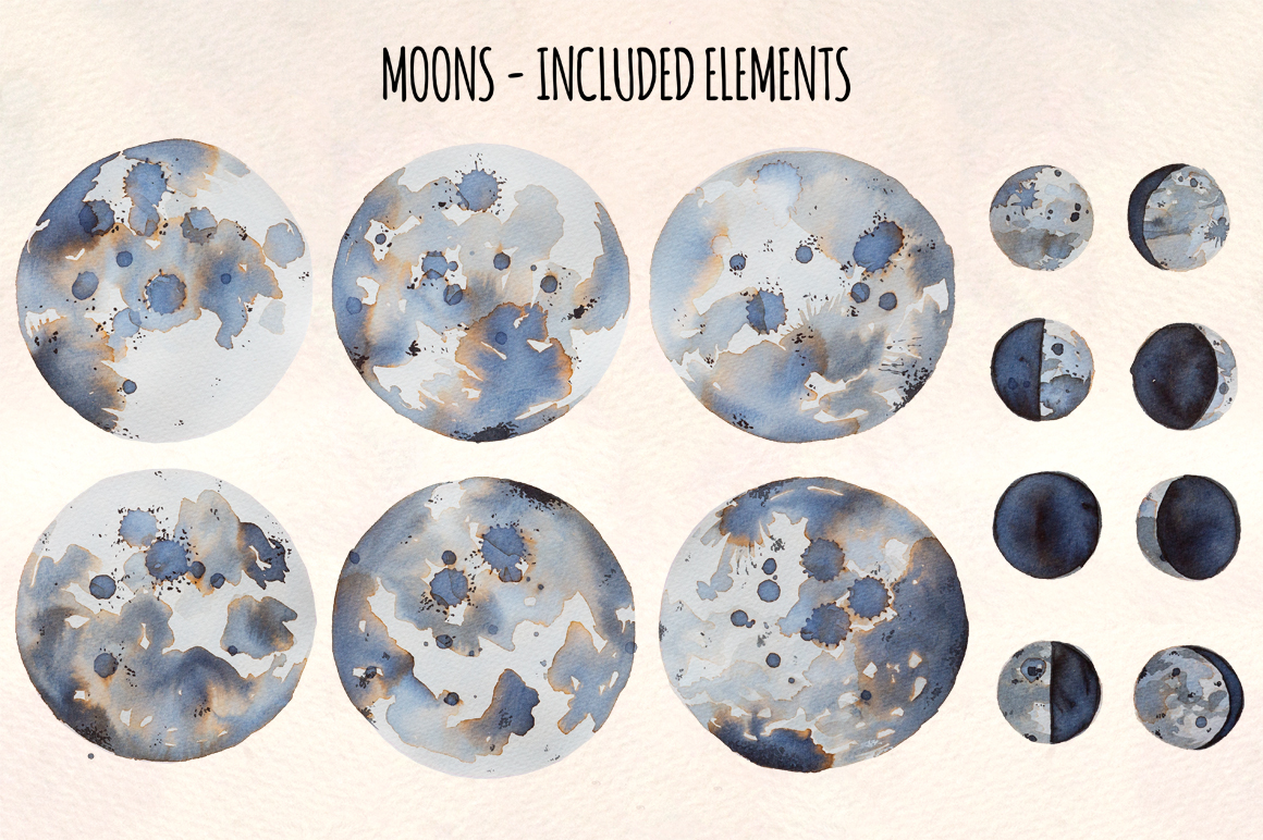 14 Moon Phases Watercolor Graphic Elements example image 2