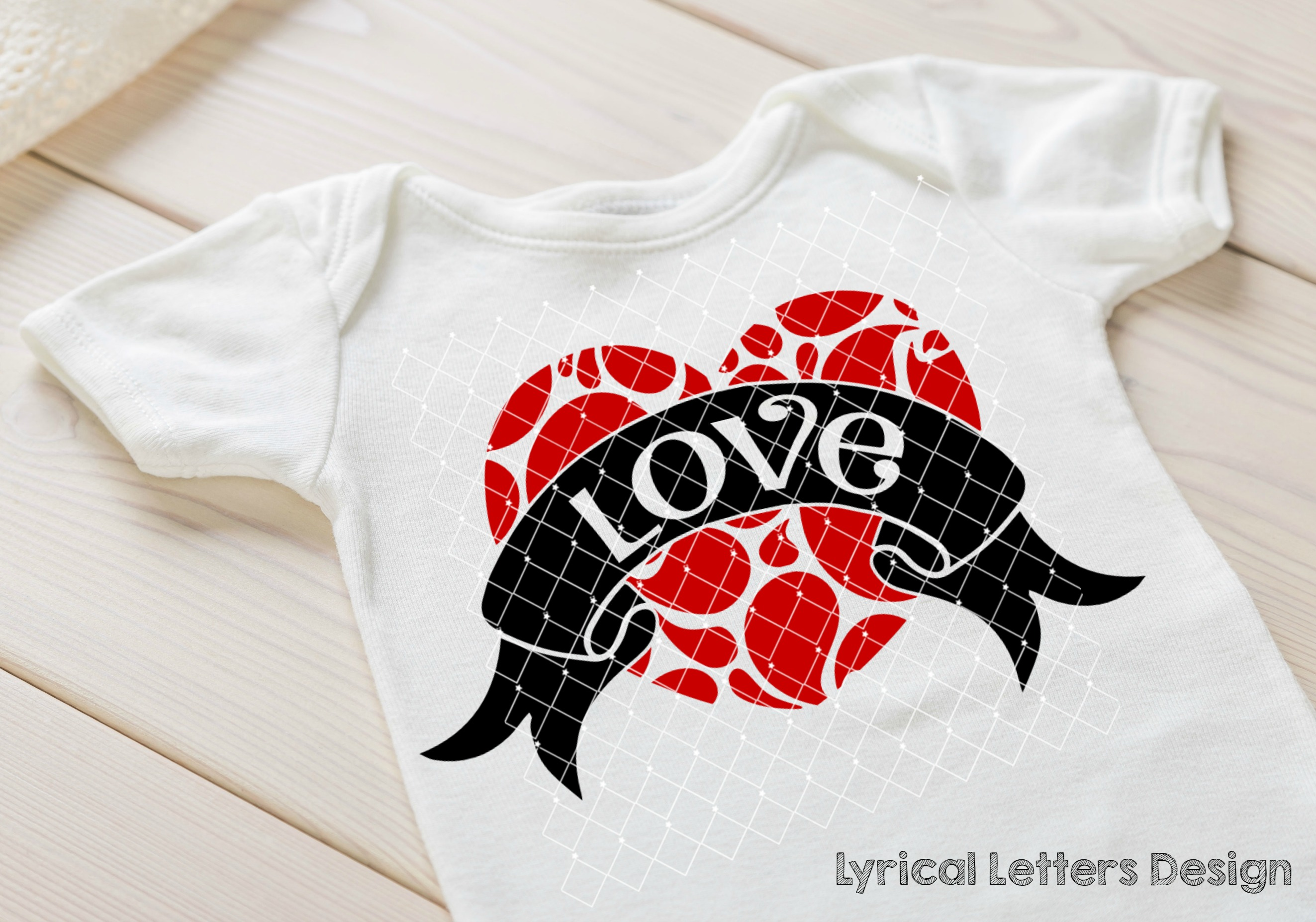 Swirly Heart with Love Valentine's Day SVG DXF LL102D example image 2