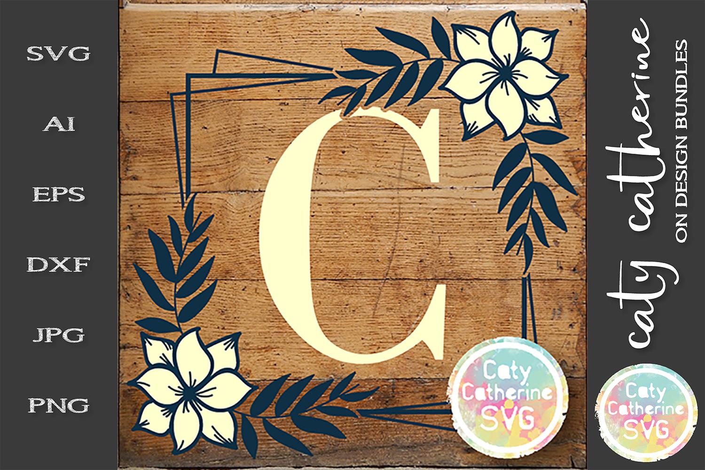 Letter C Floral Monogram Frame SVG Cut File example image 1