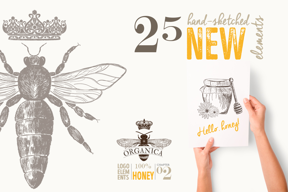 ORGANIC LOGO ELEMENTS  HONEY example image 5