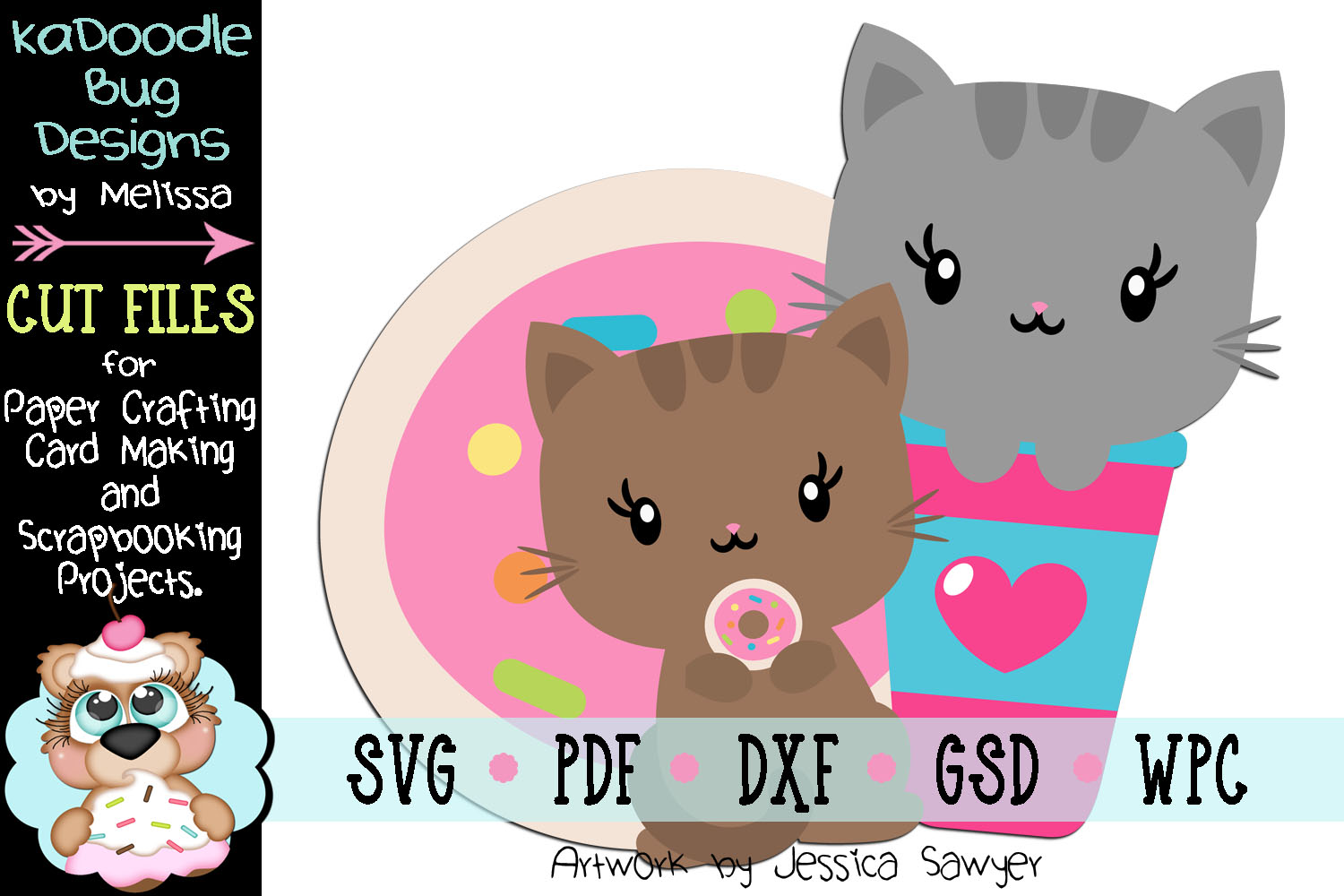 Coffee and Donut Kitty Cut File - SVG PDF DXF GSD example image 1