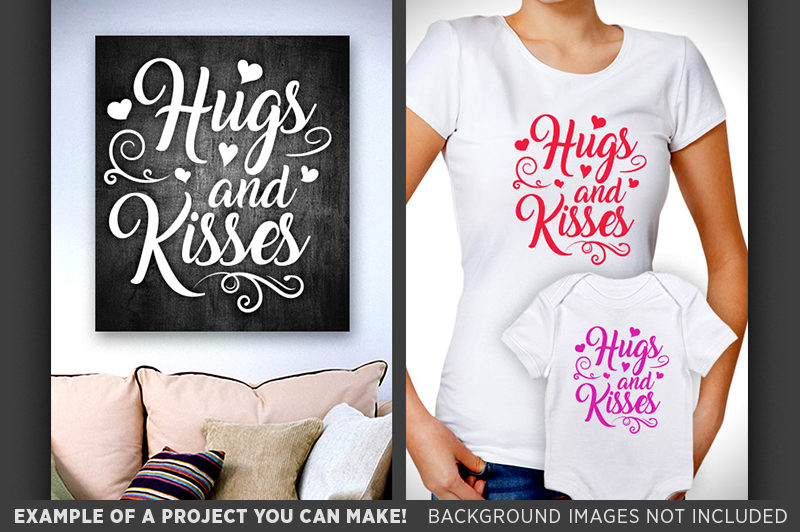 Hugs and Kisses SVG - Valentines Day Decor - 1508 example image 3