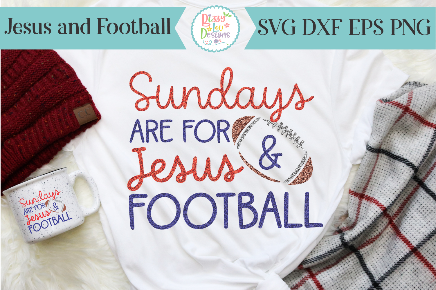 Sundays are for Jesus and Football SVG - Cutting File example image 2