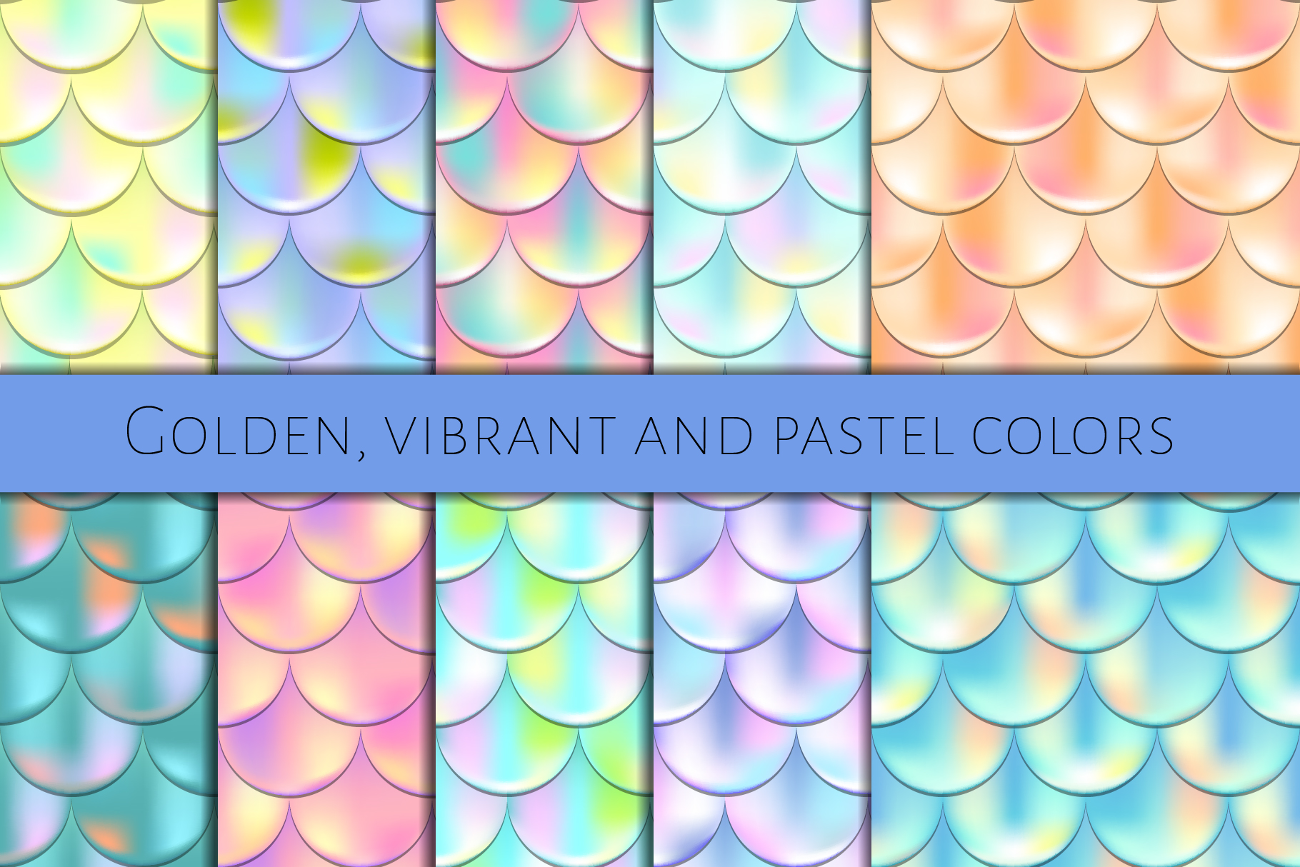 Holographic Mermaid Seamless Patterns example image 2