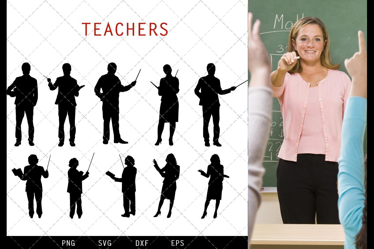Teachers svg file, school svg cut file, silhouette studio example image 1