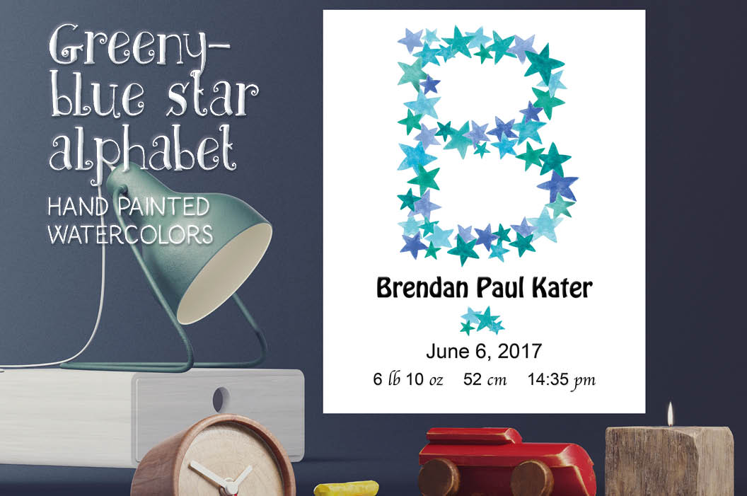 Greeny blue star alphabet + FREEBIE example image 1