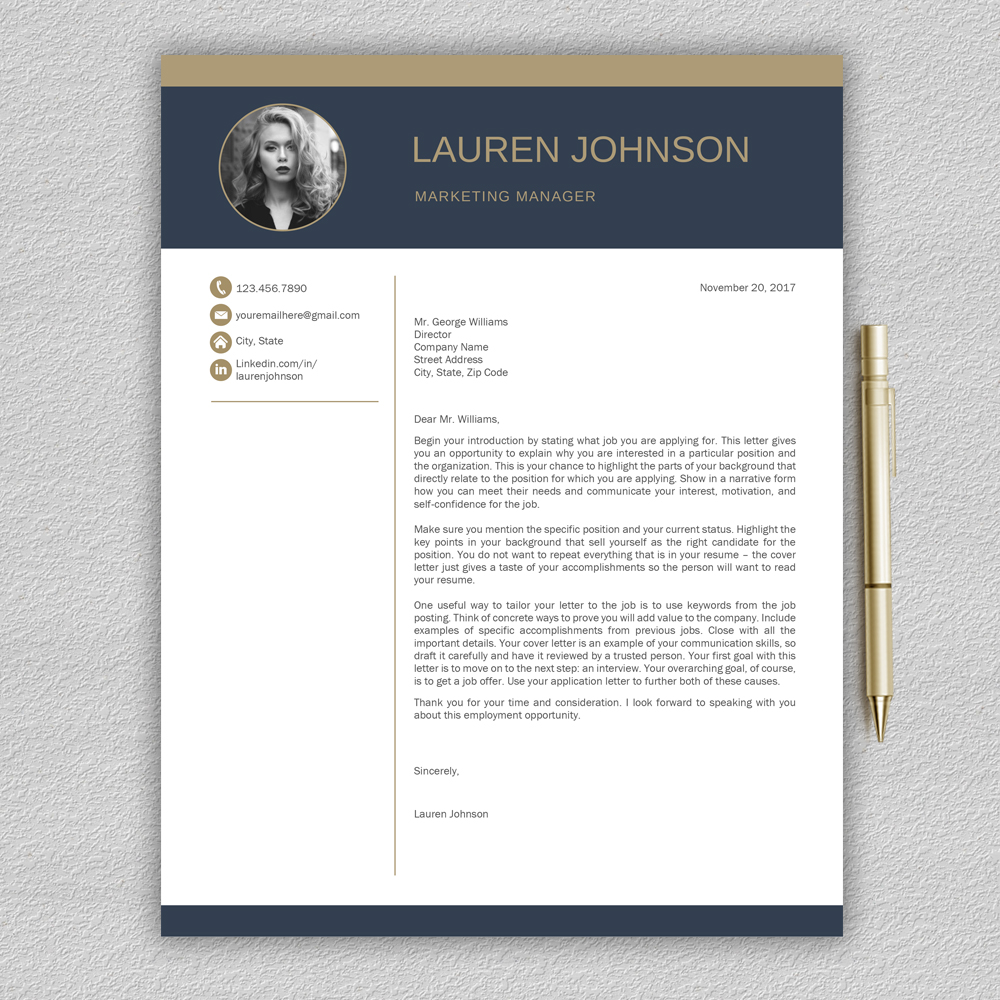 Modern Resume Template CV With Cover Letter Example Image 5