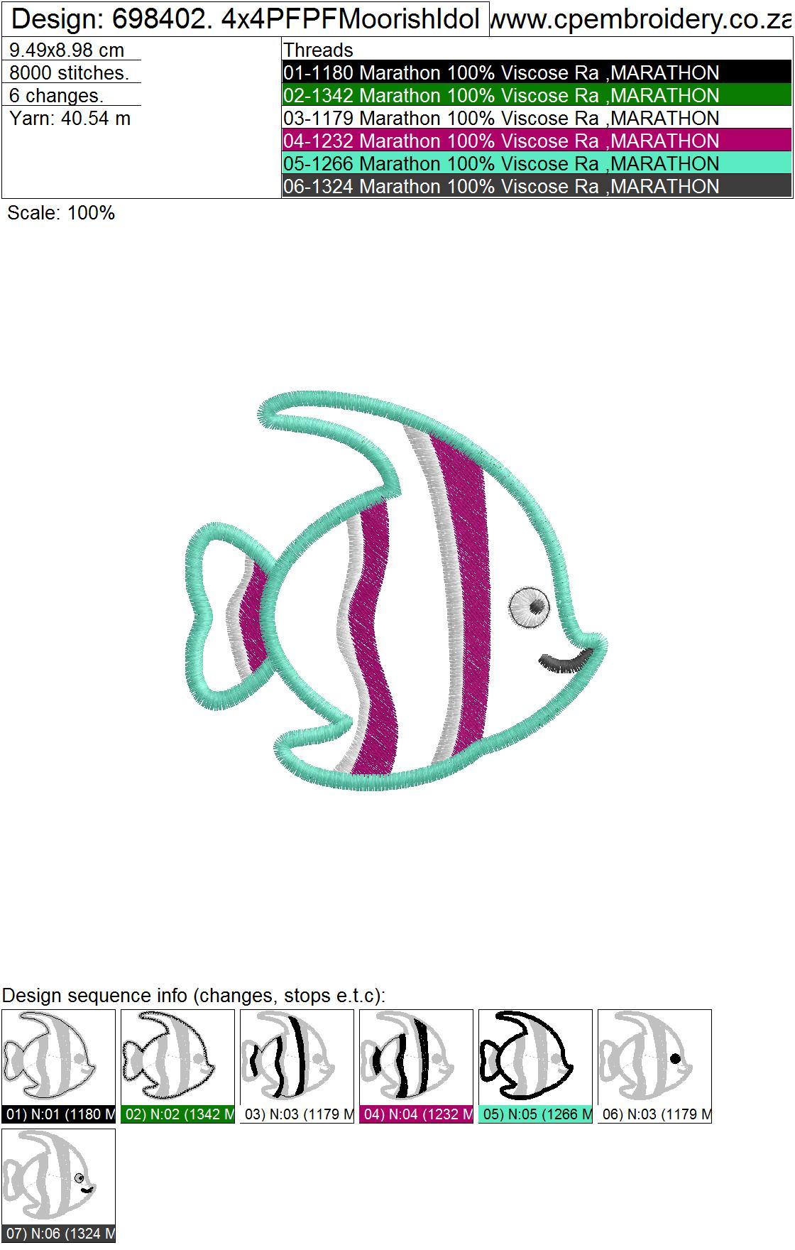 Striped Moorish Idol Pet Fish Applique Design example image 5