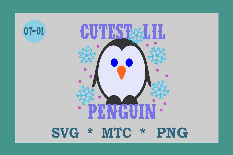 SVG Penguin w/Hat Design 07-01 Winter Digital PNG Cut File example image 1