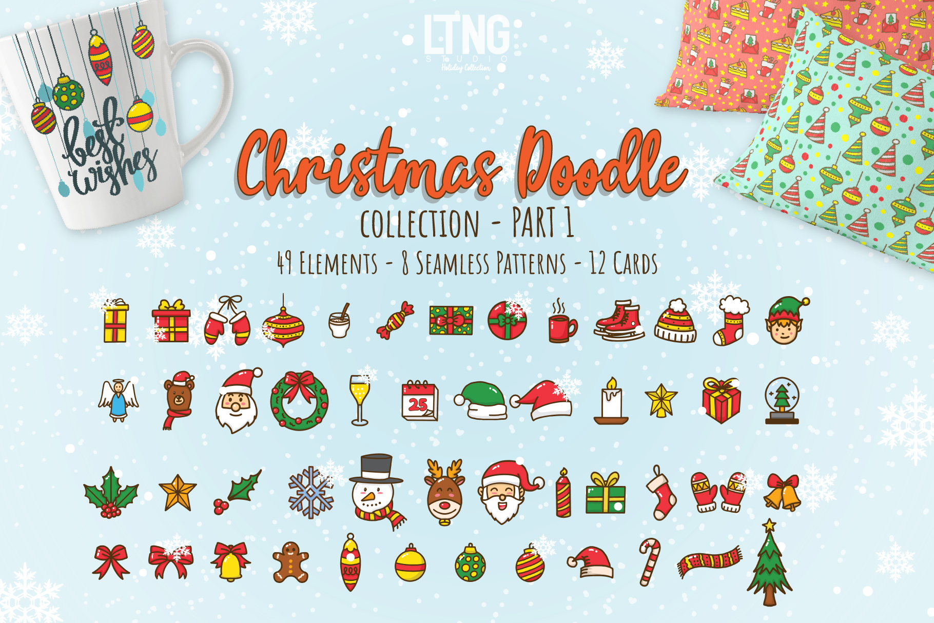 Christmas Doodle Graphic Element Part 1 example image 1