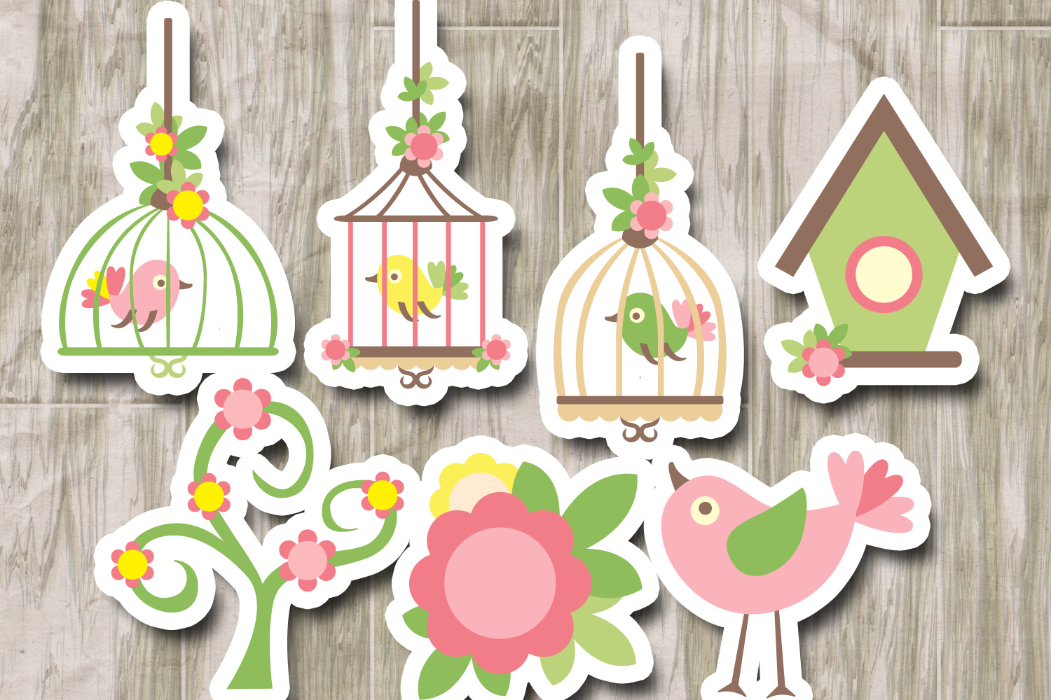Pink lime spring birds and birdcages example image 2