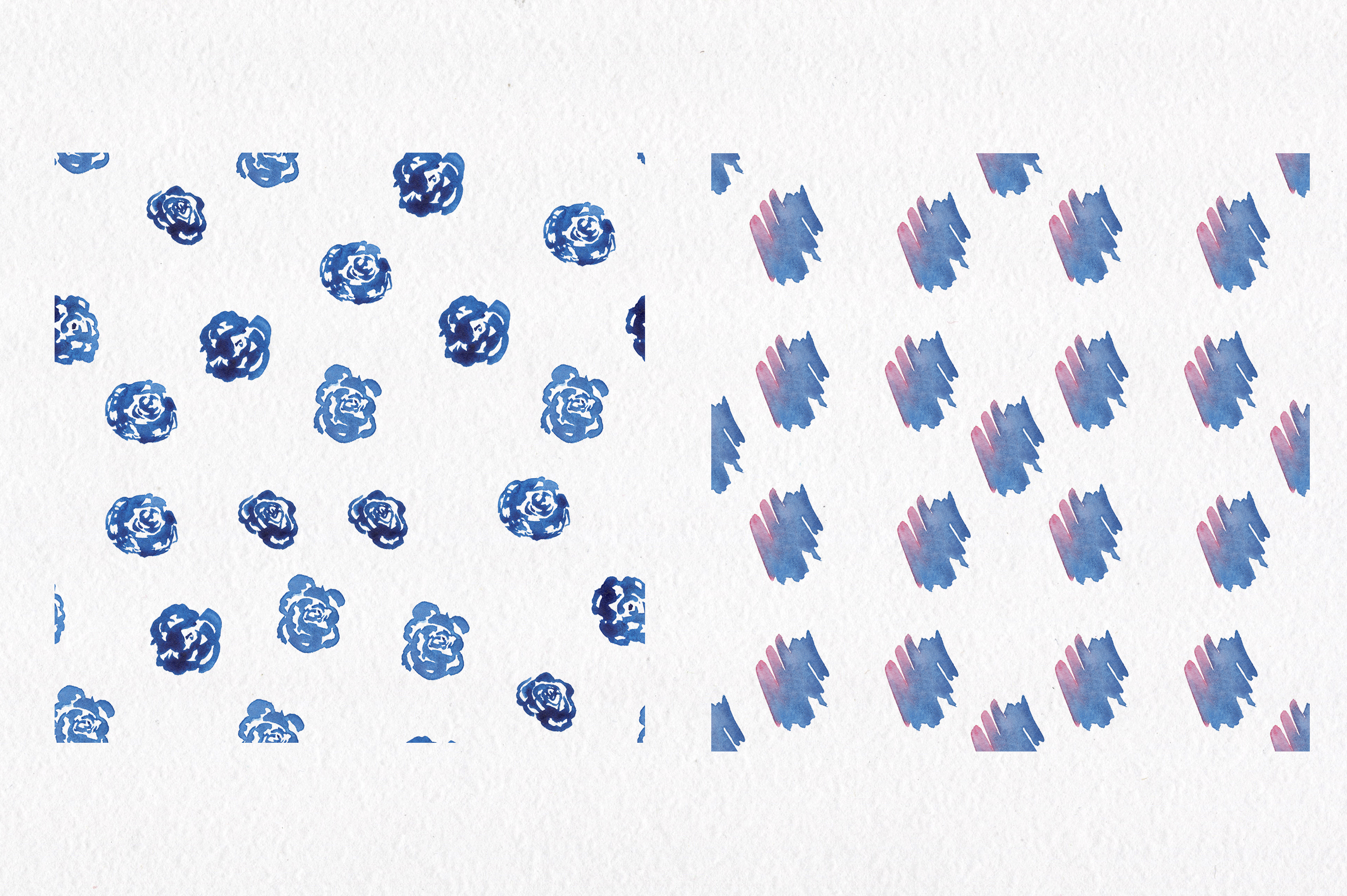 Blue watercolour seamless patterns set. example image 5