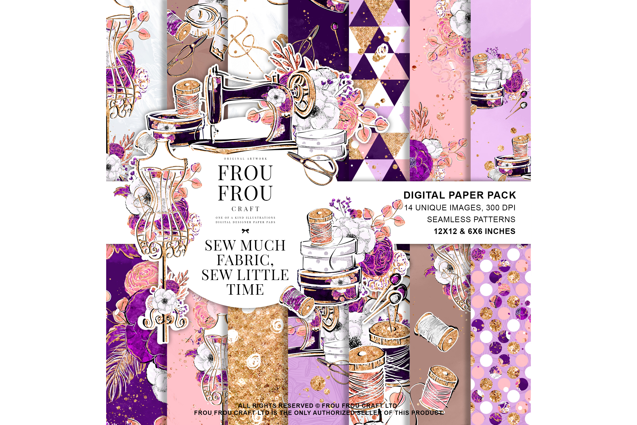 Fashion Designer Sewing Gold Glitter Paper Pack example image 1