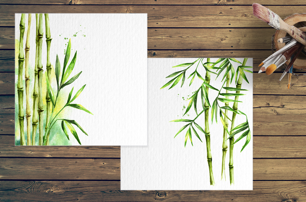 Bamboo. Watercolor collection example image 6