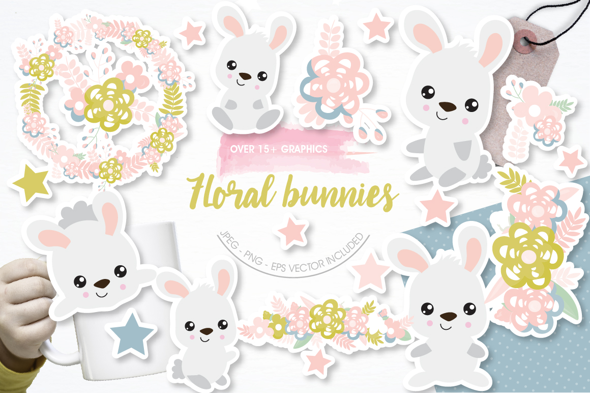 Floral Bunnies graphics and illustrations example image 1