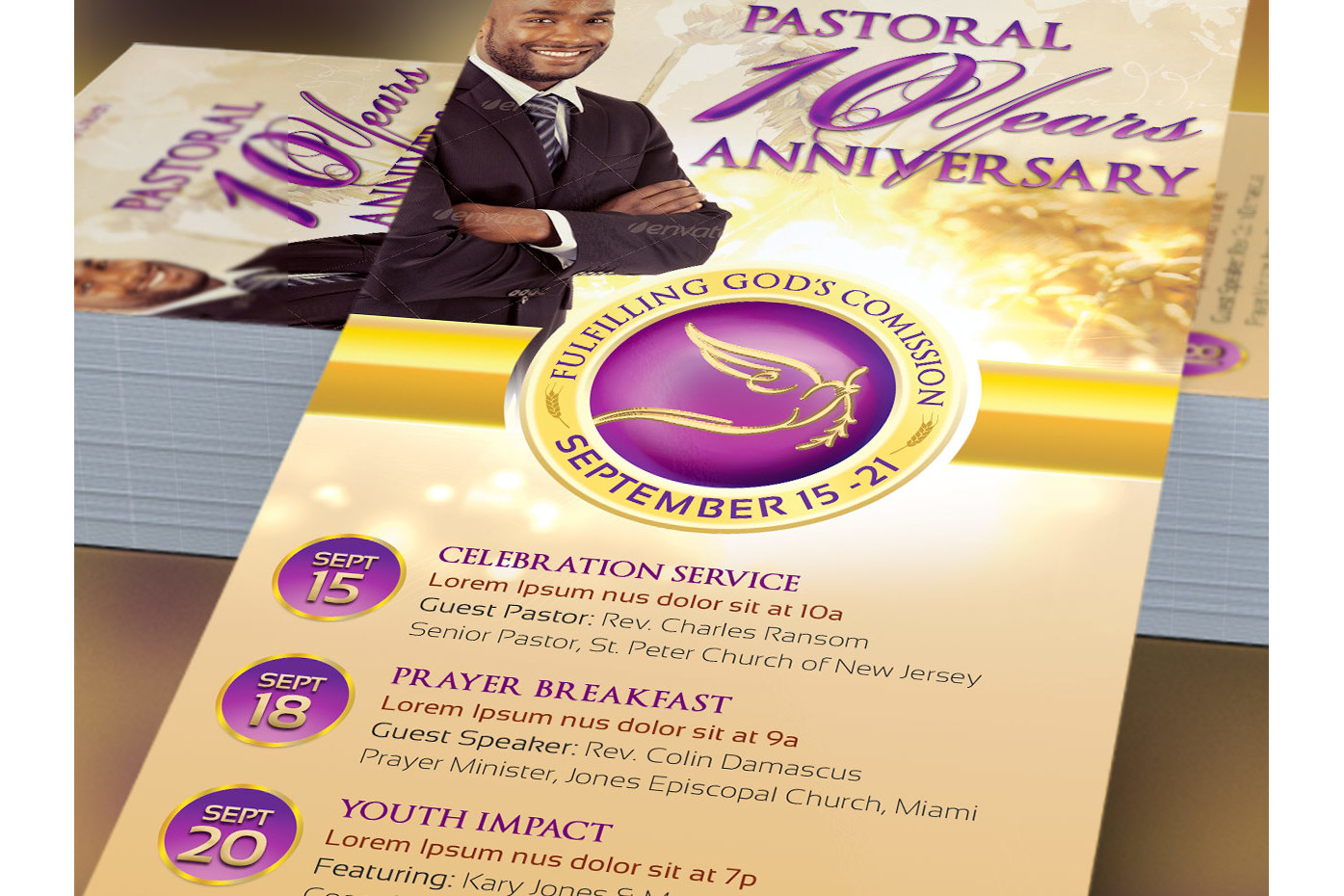 Clergy Anniversary Rack Card Template example image 2