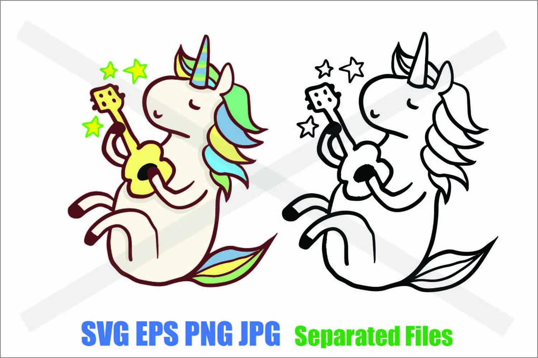 Unicorn playing ukulele- SVG EPS JPG PNG example image 1