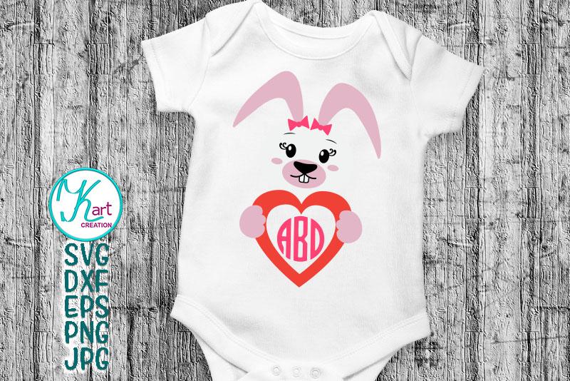 Easter Bunny rabbit heart monogram boy girl to cut digitals example image 1
