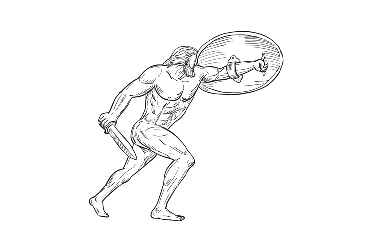 Heracles With Shield and Sword Drawing Black and White example image 1