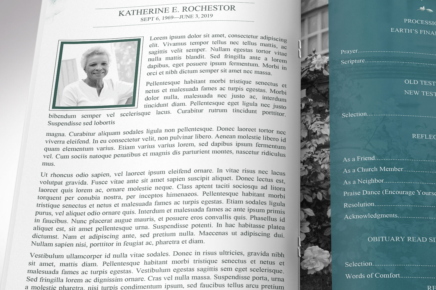 Blossom Funeral Program Word Publisher Template | 8 Pg example image 9
