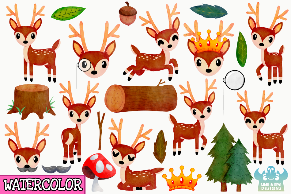 Bucks Watercolor Clipart, Instant Download Vector Art example image 2