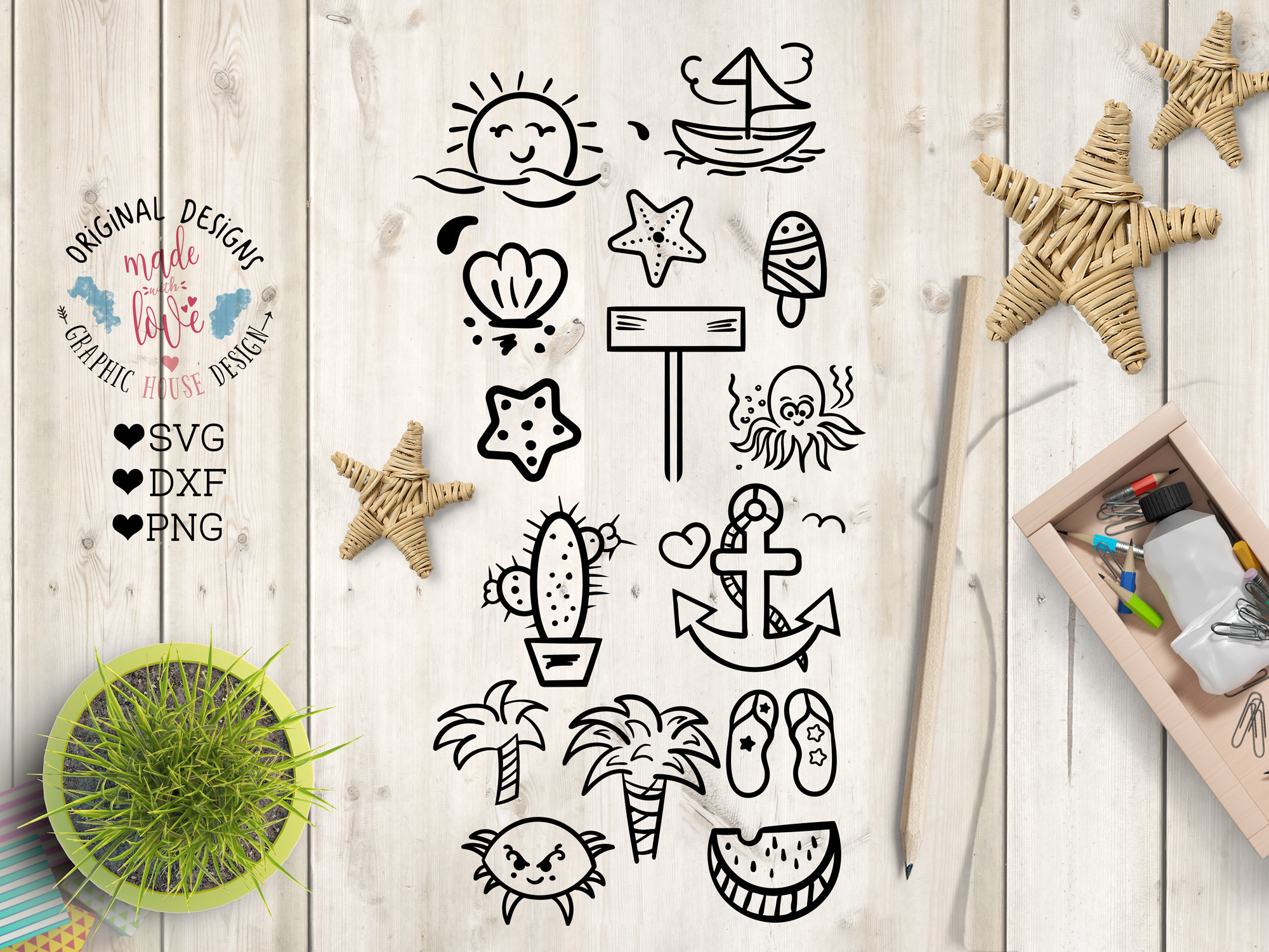 Summer SVG Summer Quotes Summer Cut Files Bundle and Doodles example image 2