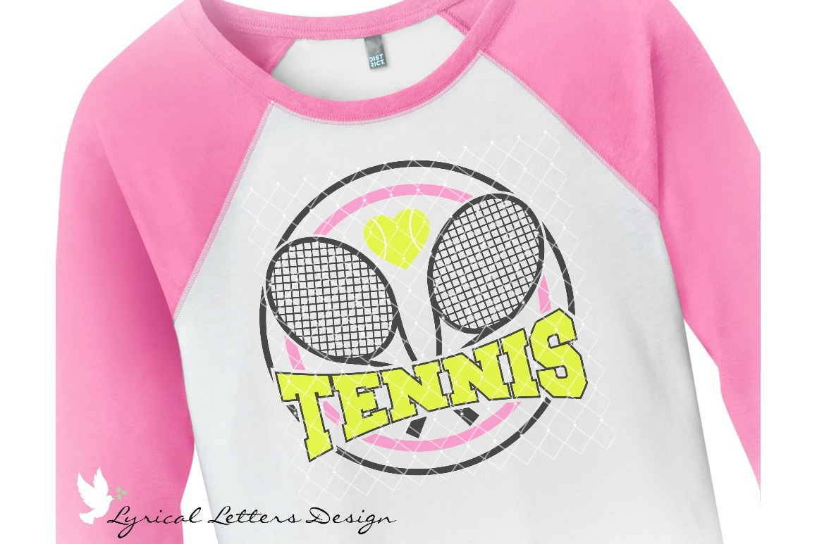 Tennis with Racquets and Heart Sports SVG DXF FCM LL141B example image 2
