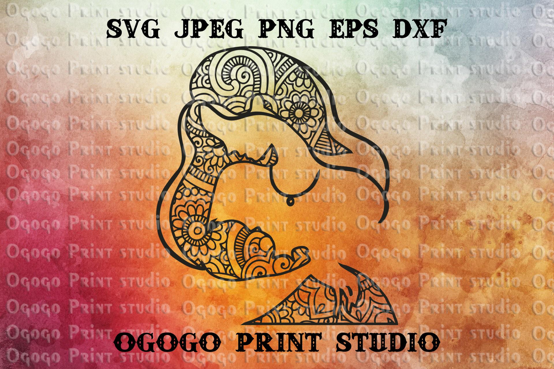 Mothers day svg, Zentangle SVG, Mandala svg, Cricut cut file example image 1
