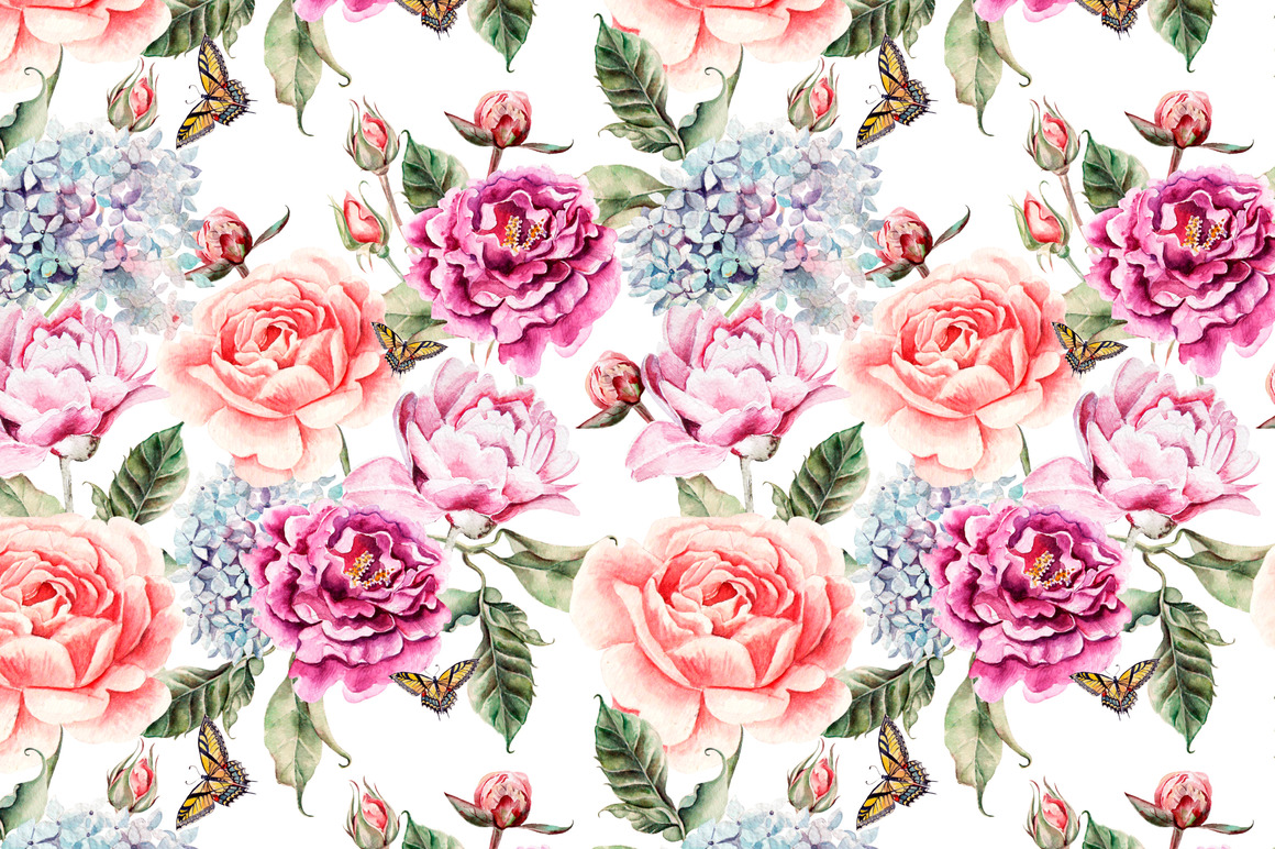 Hand Drawn Watercolor PATTERNS example image 6