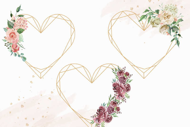 Heart Shaped Watercolor Flowers Frames, Geometric Gold Frame example image 3