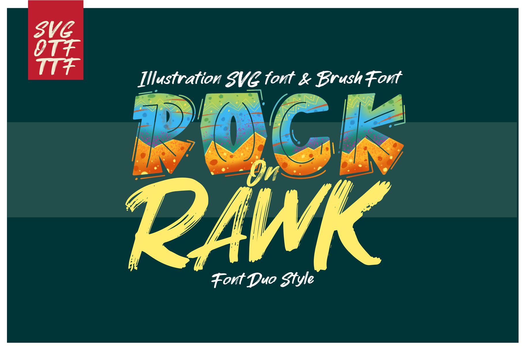 ROCK on RAWK | SVG Font Duo example image 1