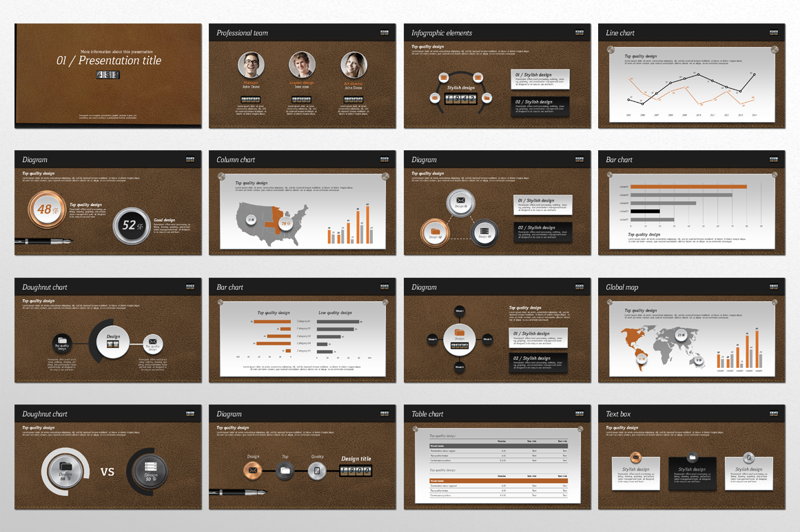 Leather PowerPoint Template example image 2