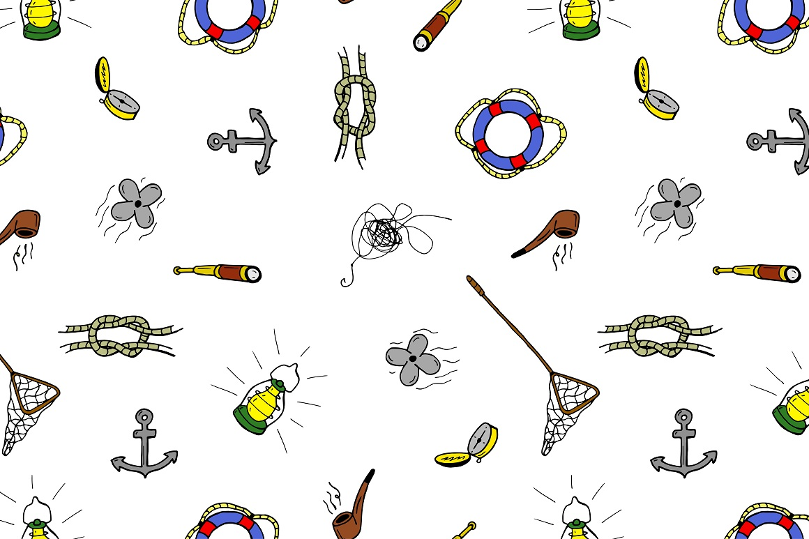 Fishing doodle set+seamless patterns example image 5