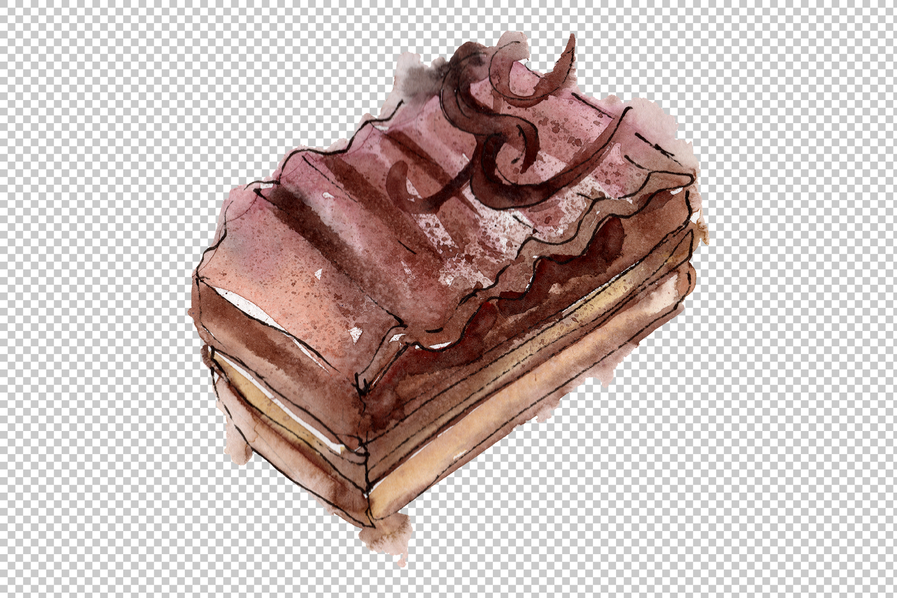 Sweet yummy cake Watercolor png example image 3