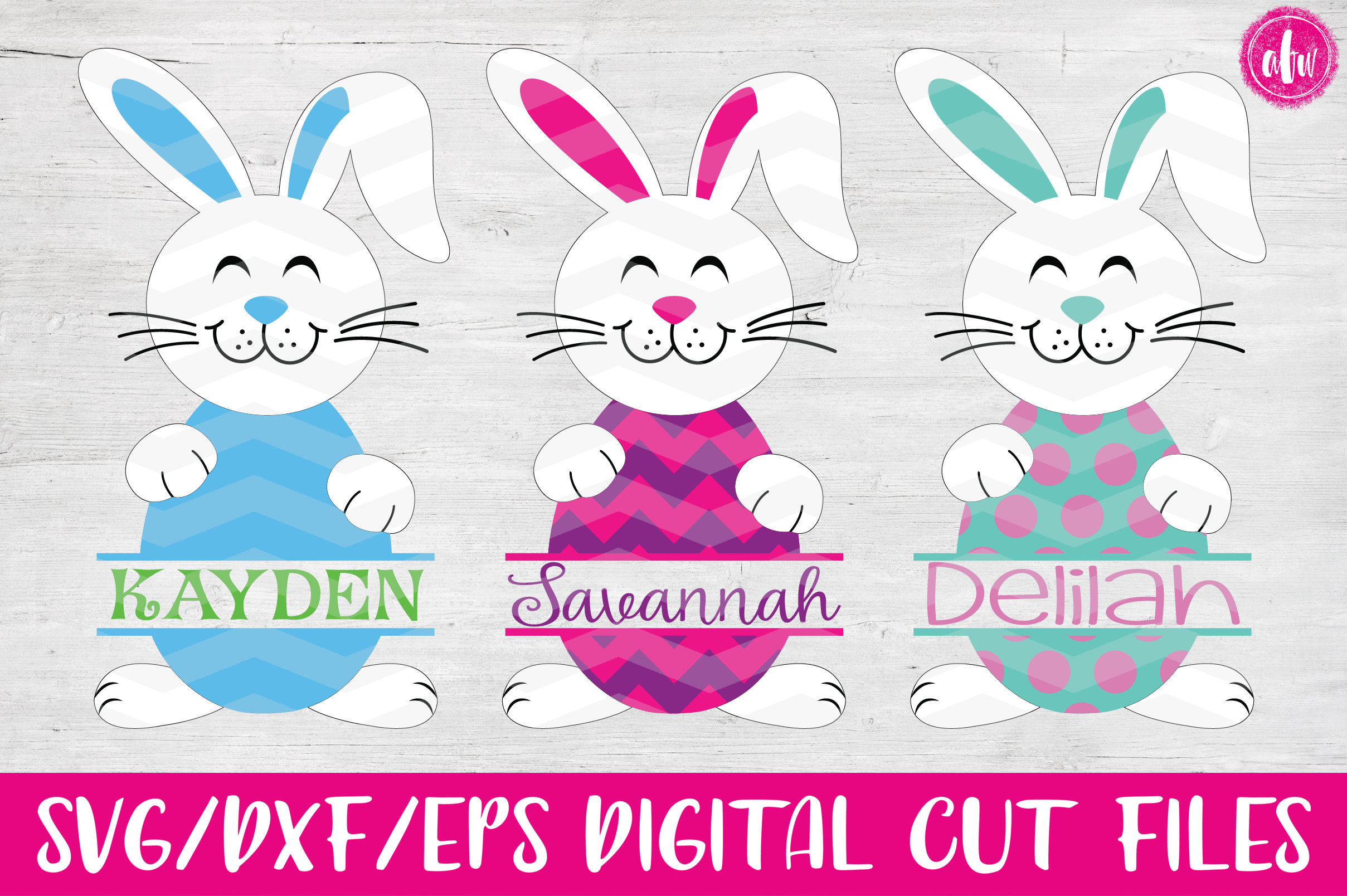 Split Easter Bunny Eggs- SVG, DXF, EPS Cut Files example image 1