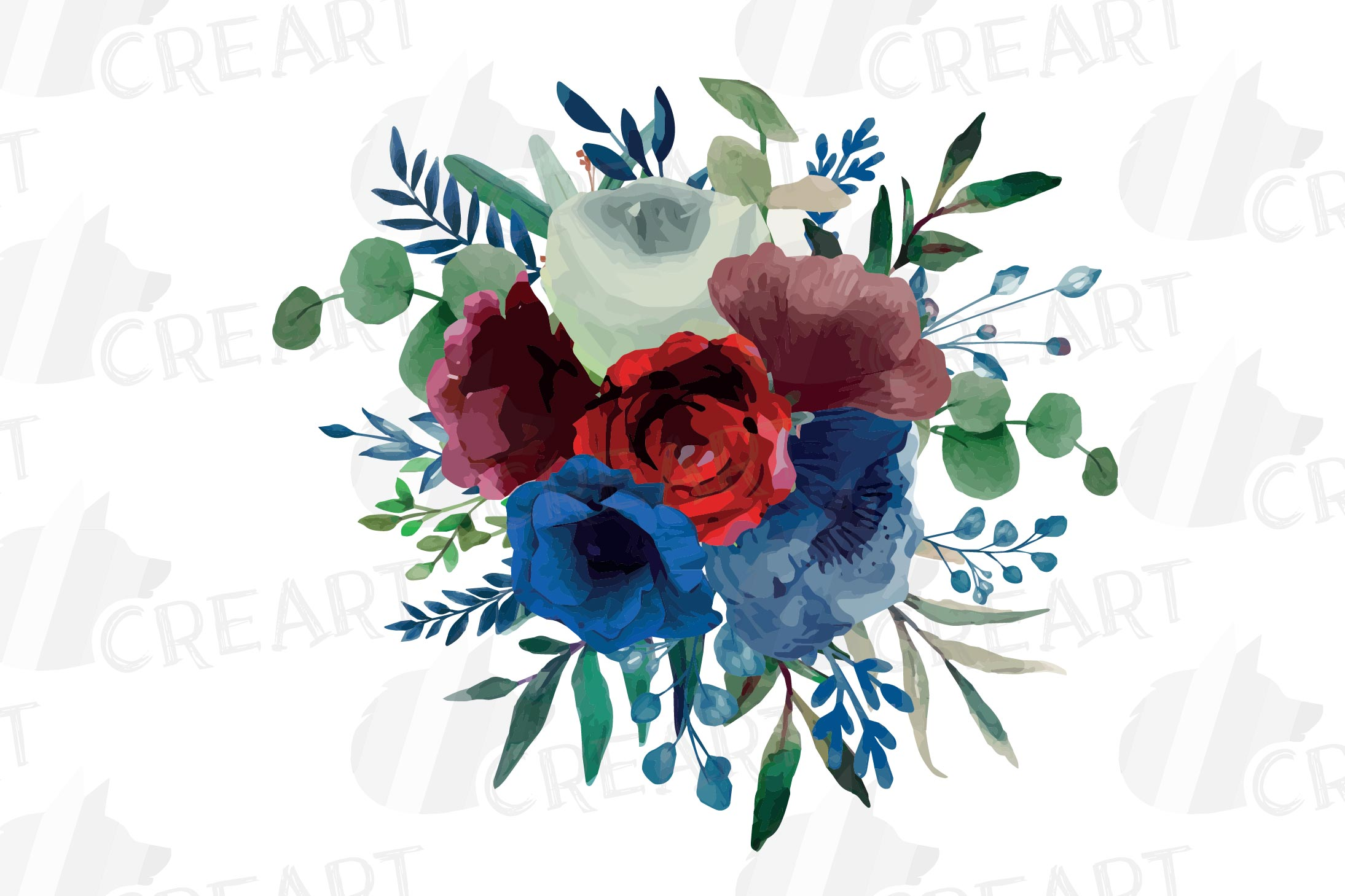 Colorful navy and burgundy floral watercolor wedding bouquet example image 5