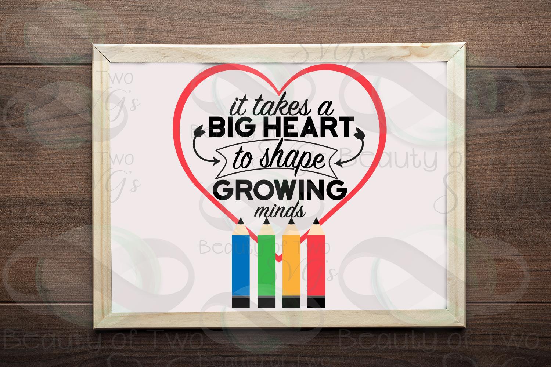 Teacher gift svg & png, teacher appreciation svg, big heart example image 1