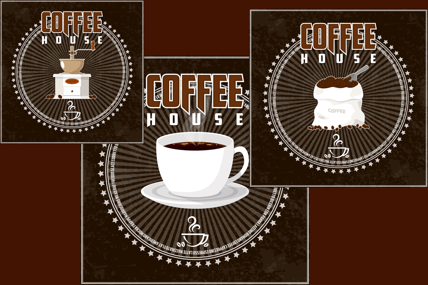 Coffee house emblem and items illustration. example image 2