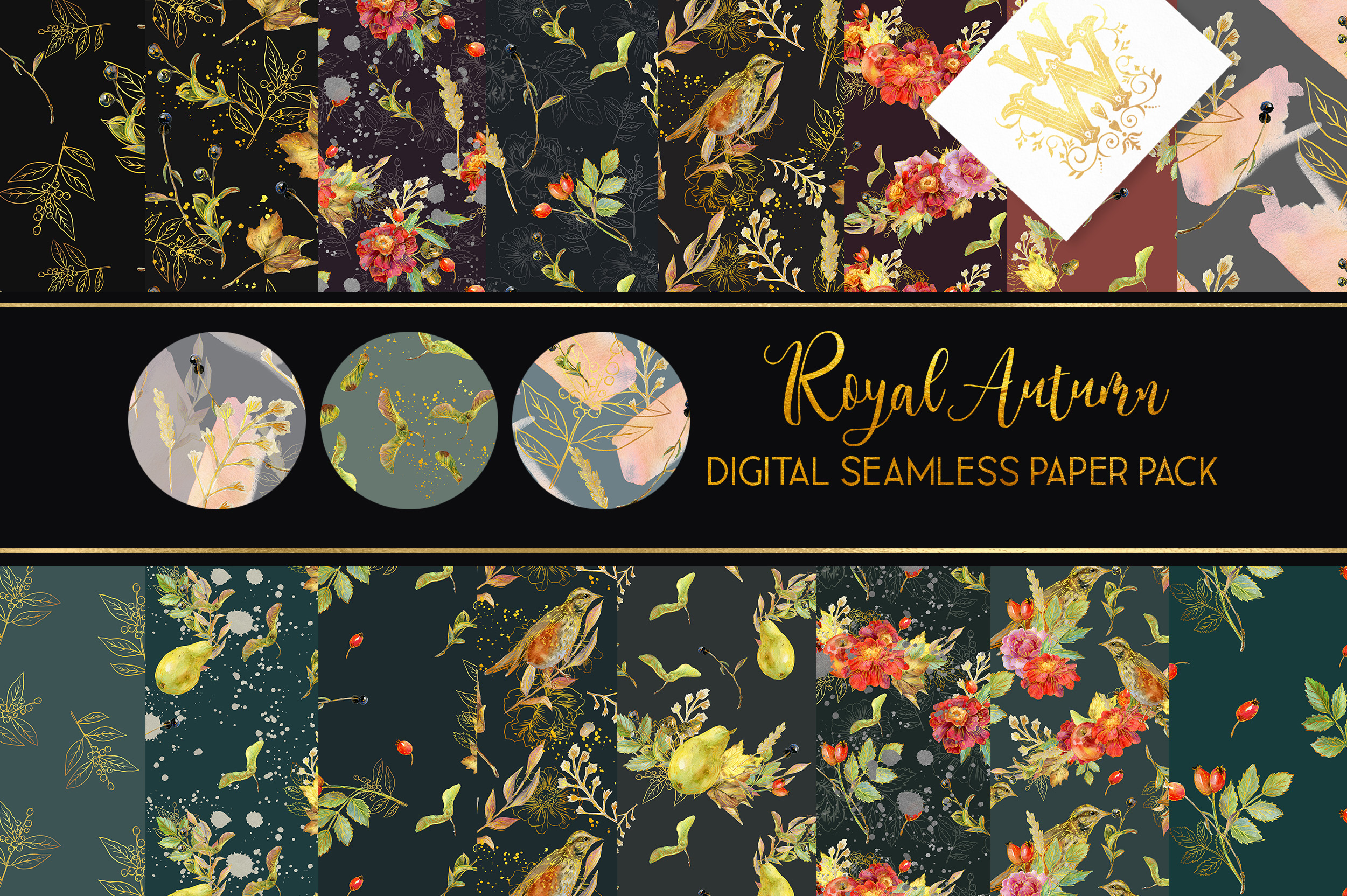Royal Autumn watercolor seamless paper pack, fall pattern example image 1