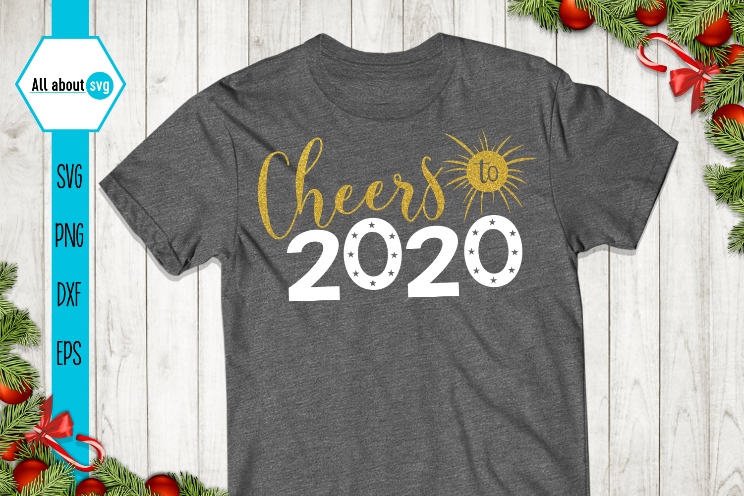 Cheers To 2020 Svg, New Year Glitter Svg example image 4