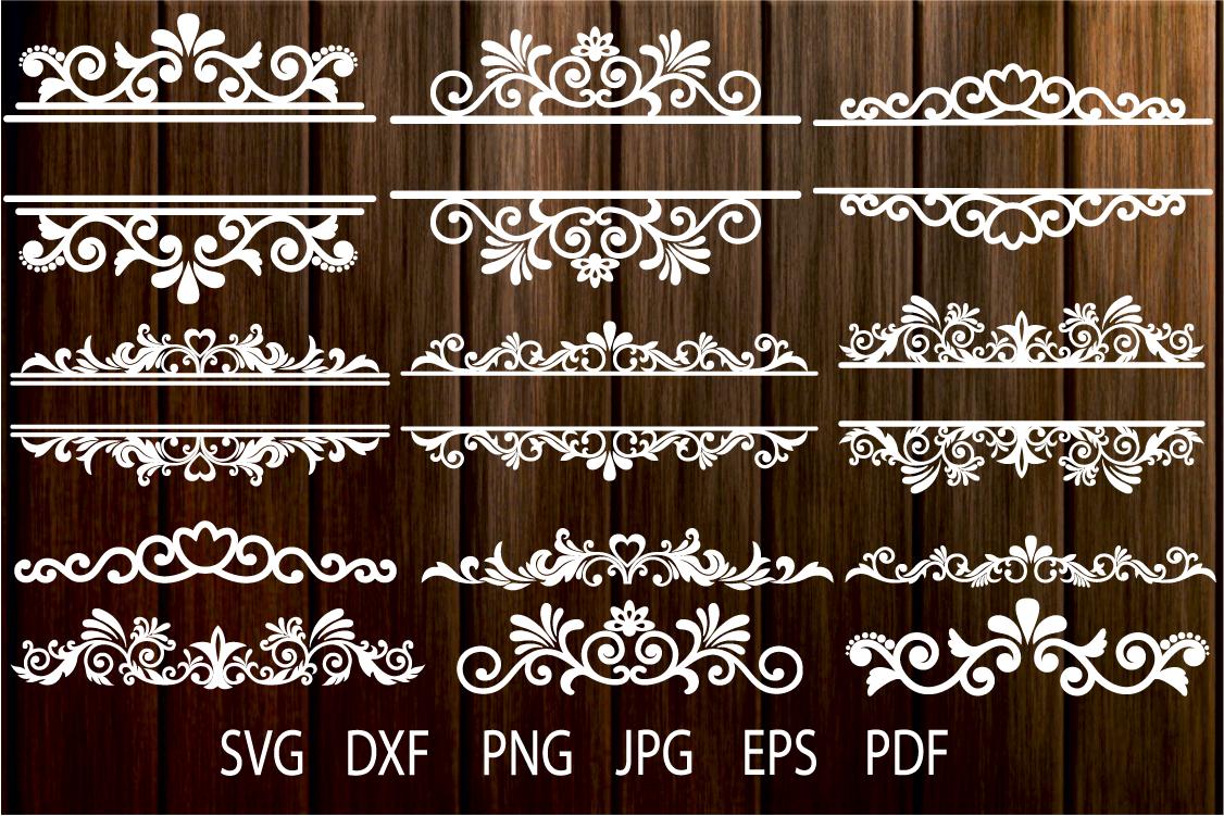 Floral Vintage Frames, Ornamental Split Frame SVG, Flourish example image 1