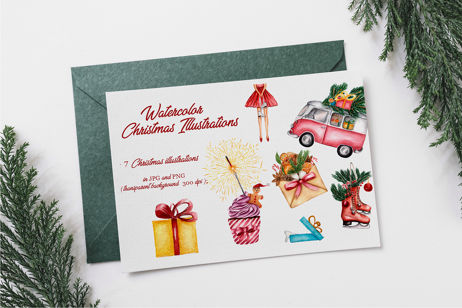 Watercolor Christmas Illustrations example image 2