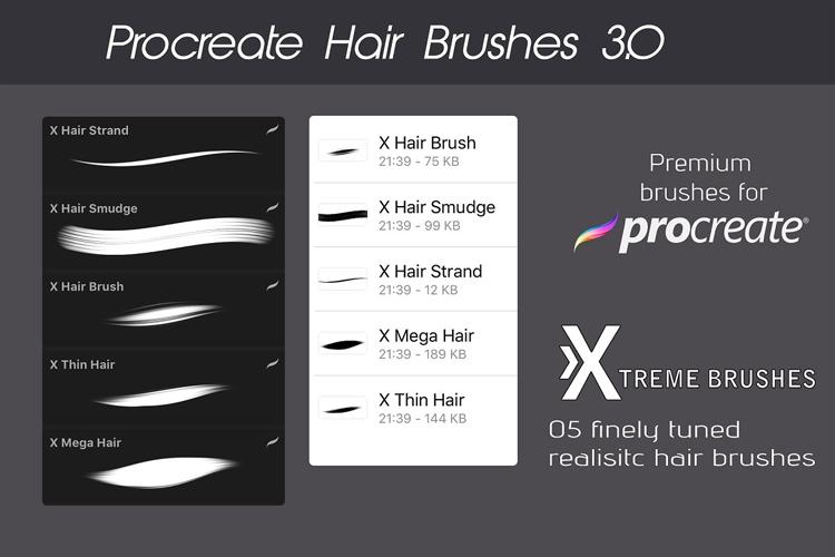 Procreate Hair Bundle example image 3