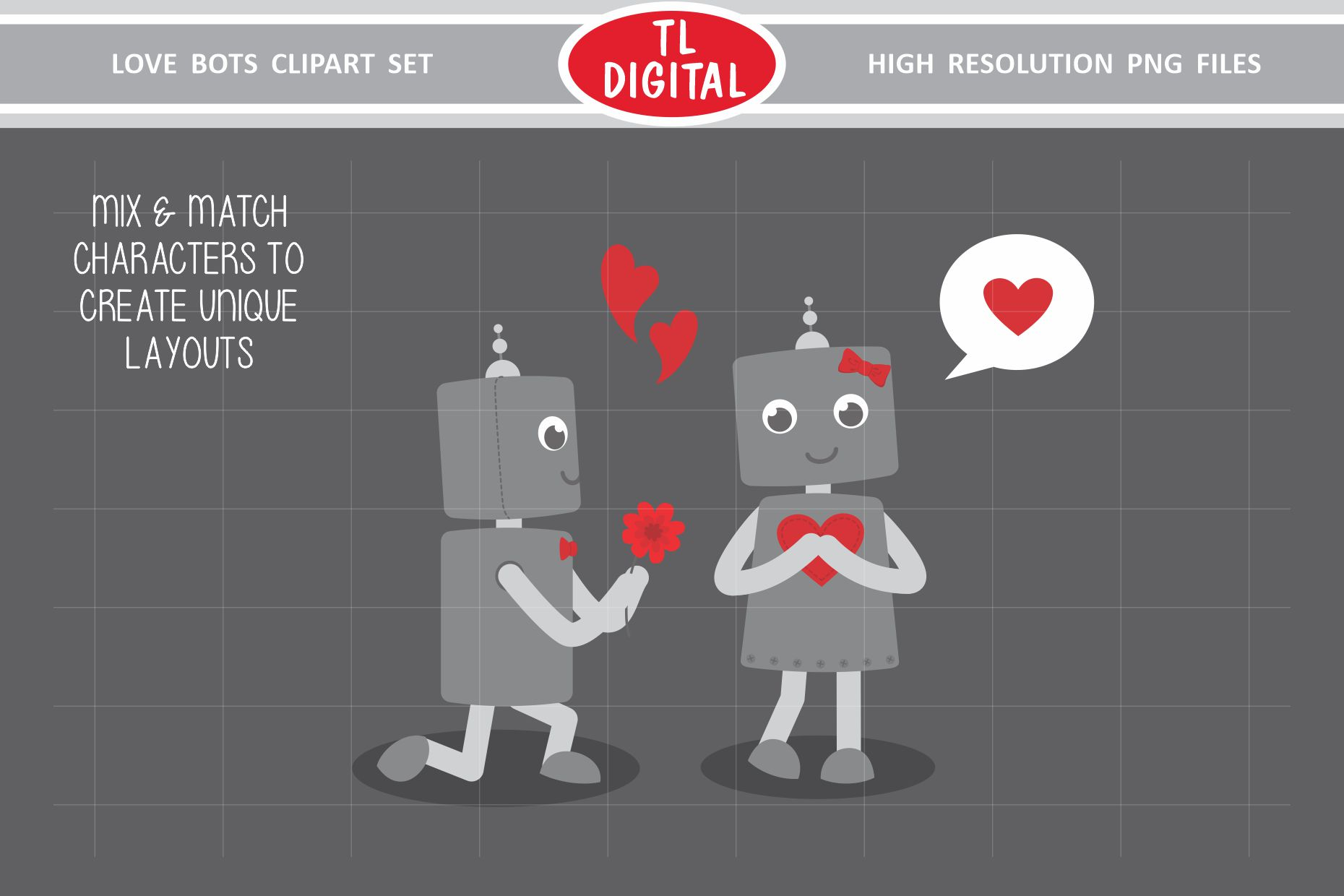 Love Robots Clipart Set - 13 Valentines PNG Graphics example image 2