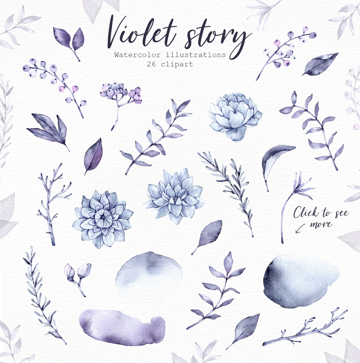 Violet Story. Watercolor clipart example image 2