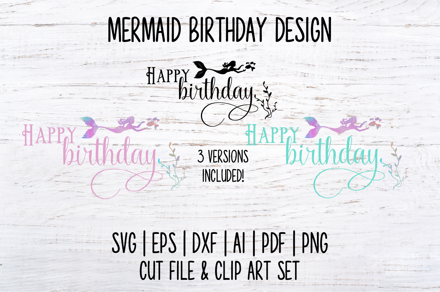 Mermaid Happy Birthday SVG Cut File and PNG Clip Art Set example image 3