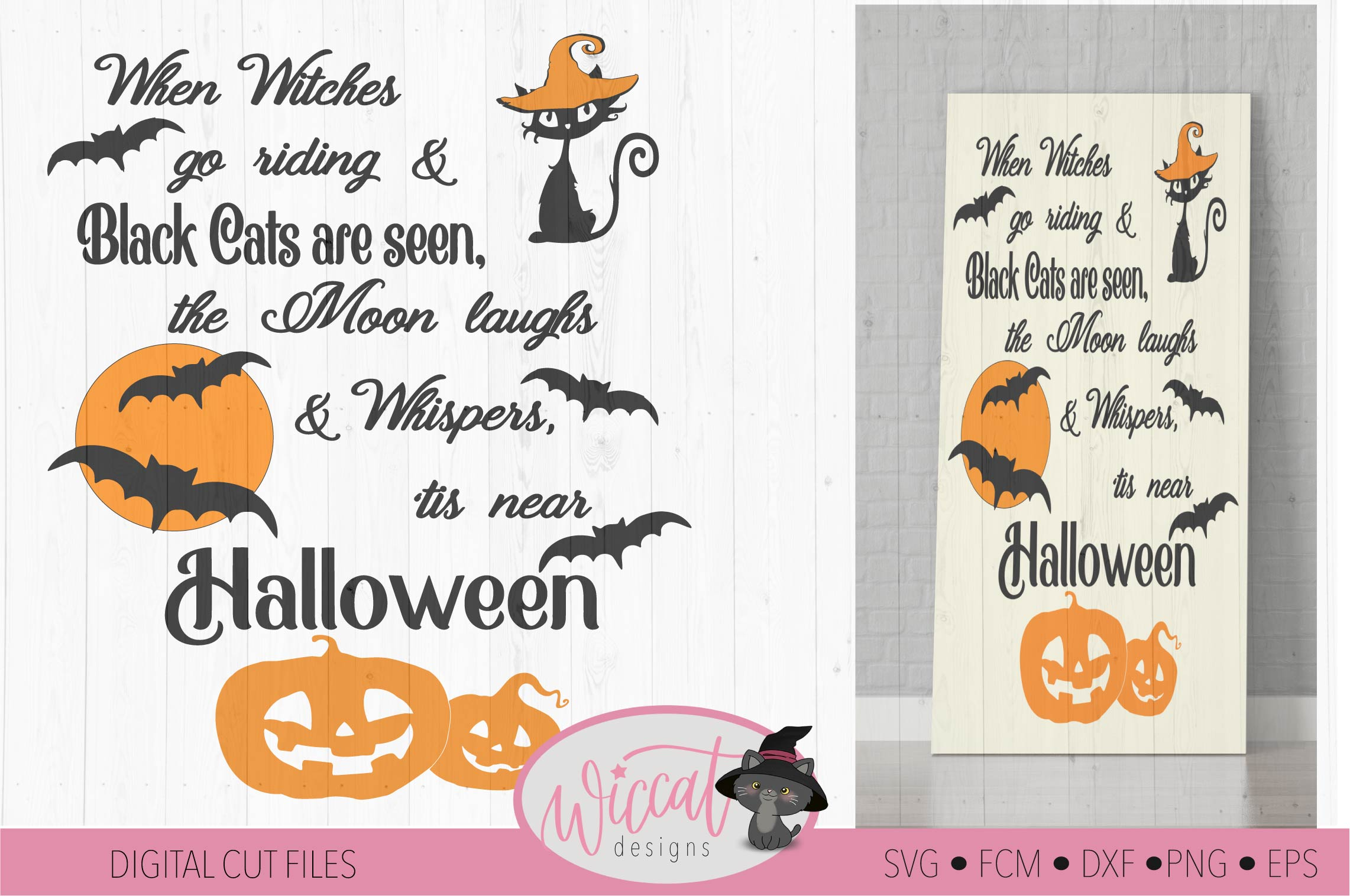Halloween sign quote with cats, bats and pumpkin designs example image 3