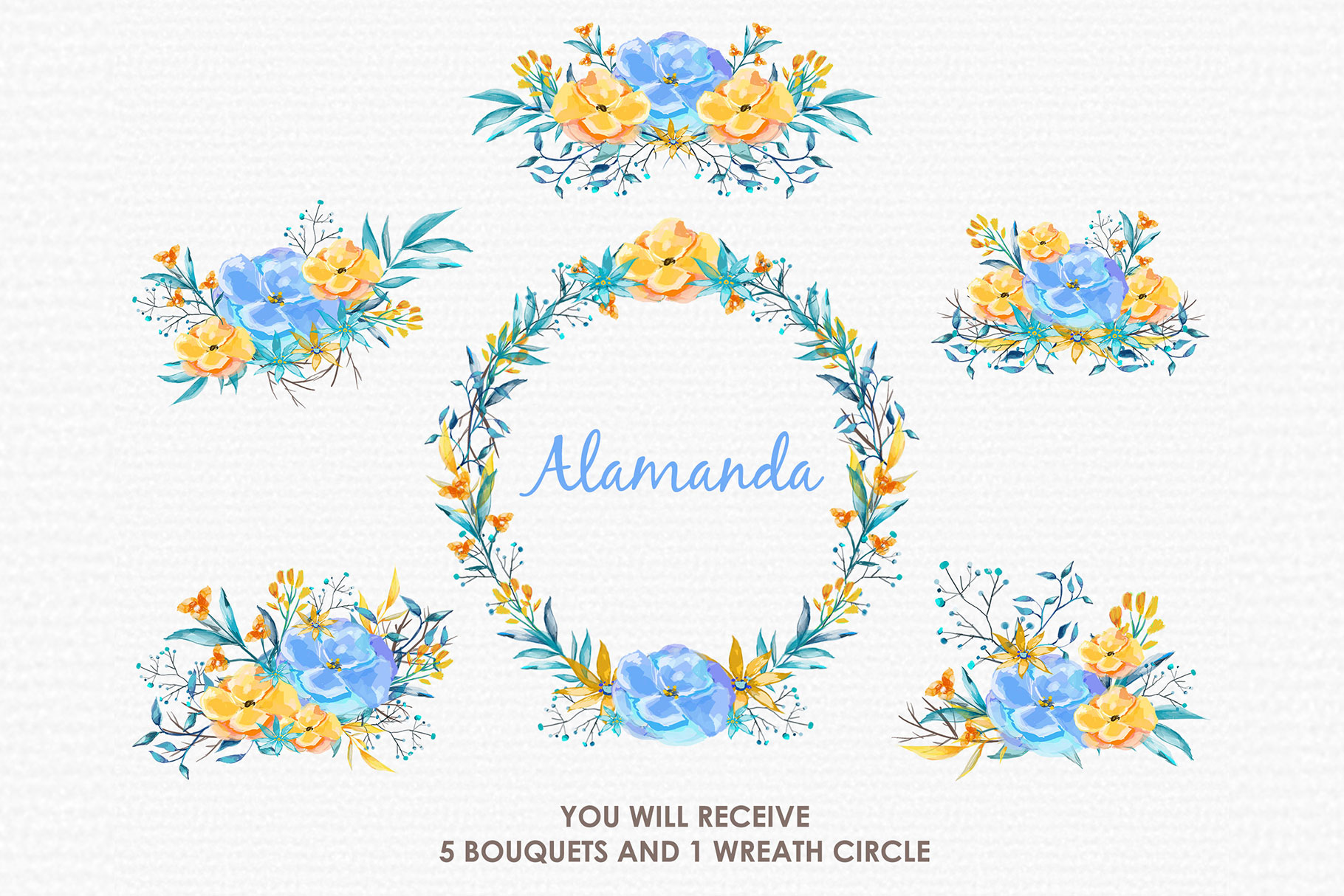 Blue Alamanda - Watercolor Floral Flower Style Clipart example image 3