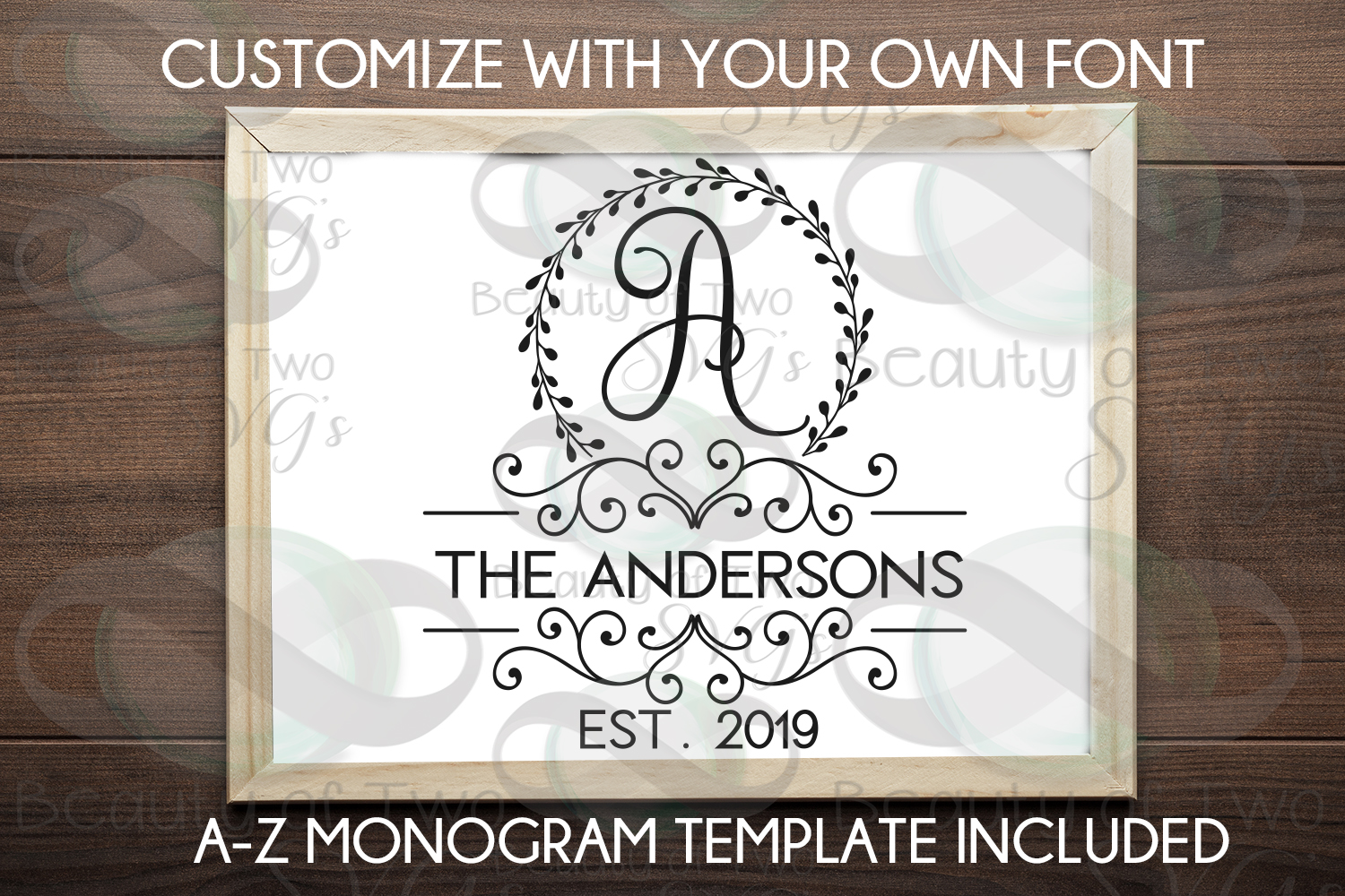 Last Name Monogram initial wreath svg, a-z monogram included example image 2
